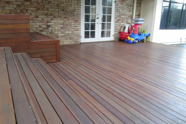 Image of a timber deck for a large family home